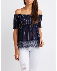 Charlotte Russe - Striped Lace Off The Shoulder Top - Lyst