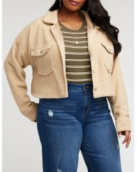 234f5f2abca Charlotte Russe - Plus Size Teddy Button Up Jacket - Lyst