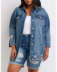 Charlotte Russe - Plus Size Refuge Longline Denim Jacket - Lyst