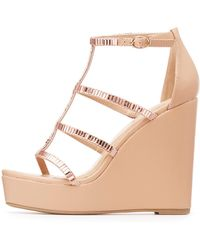 Charlotte Russe - Embellished Caged Wedge Sandals - Lyst