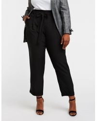 cd822a5d7c3 Lyst - Charlotte Russe Plus Size Striped Paperbag Trousers in Black