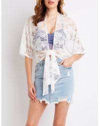 Charlotte Russe - Lace Tie-front Kimono - Lyst