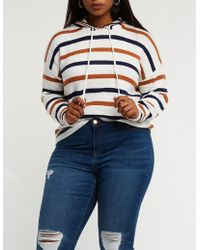 Charlotte Russe - Plus Size Striped Drawstring Hoodie - Lyst