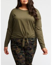 Charlotte Russe - Plus Size Tie Front Tee - Lyst