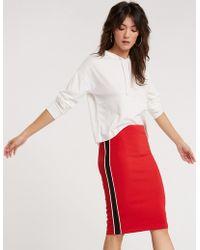 f035642da Lyst - Charlotte Russe Corduroy Midi Bodycon Skirt in Red