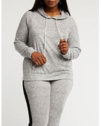 Charlotte Russe - Plus Size Knit Drawstring Hoodie - Lyst
