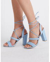 3ed586f08377 Lyst - Charlotte Russe Ankle Wrap Block Heel Sandals in Orange