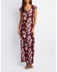 Charlotte Russe - Floral Open Back Maxi Dress - Lyst