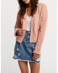 Charlotte Russe - Cable Knit Open Front Cardigan - Lyst