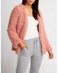 Charlotte Russe - Shaggy Faux Fur Jacket - Lyst