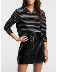Charlotte Russe - Striped Hooded Crop Top - Lyst