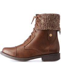 Charlotte Russe - Knit Foldover Combat Boots - Lyst