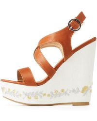 Charlotte Russe - Embroidered Wedge Sandals - Lyst