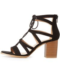 0e716a39d58 Lyst - Charlotte Russe Caged Laser Cut Lace-up Sandals in Black