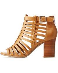 c764763195fc Lyst - Charlotte Russe Bamboo Metallic Heel Sock Booties in Blue