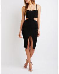 1ade1ffea6d Lyst - Charlotte Russe Asymmetrical Bustier Bodycon Dress in Black