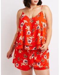 Charlotte Russe - Plus Size Floral Layered Top - Lyst