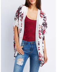 Charlotte Russe - Floral Crochet-trim Tunic Kimono - Lyst