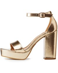 55ad22ca948f Lyst - Charlotte Russe Bamboo Bow Two-piece Platform Sandals in Brown