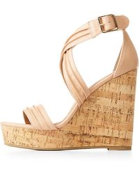 579adcfdf2d4 Lyst - Charlotte Russe Ankle Wrap Cork Wedge Sandals