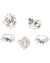 Charlotte Russe - Crystal & Faux Pearl Stackable Cocktail Rings - 5 Pack - Lyst