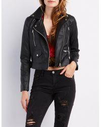 41b455ebf7f Lyst - Charlotte Russe Plus Size Faux Leather-trim Moto Jacket in Black