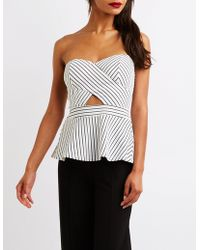 Charlotte Russe - Striped Off The Shoulder Peplumtop - Lyst