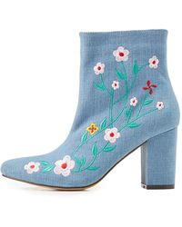 Charlotte Russe - Embroidered Denim Ankle Booties - Lyst