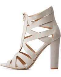 ad49345992f Lyst - Charlotte Russe Caged Peep Toe Sandals in Orange