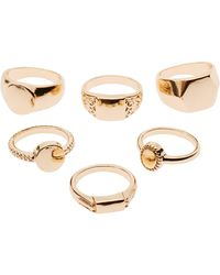 Charlotte Russe - Textured Stacking Rings - 6 Pack - Lyst