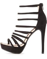 d99634ca2b37 Lyst - Charlotte Russe Qupid Metal-trim Platform Dress Sandals in Black