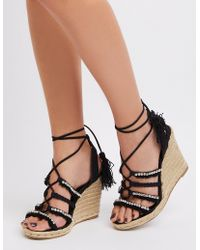d92dd0a755a Lyst - Charlotte Russe Lace-up Slingback Wedge Sandals in Black