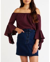 e7a8e09bf03c3d Lyst - Charlotte Russe Off The Shoulder Bell Sleeve Top in Purple