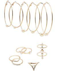 Charlotte Russe - Embellished Caged Rings & Hoop Earrings Set - Lyst
