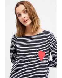 Chinti & Parker - Navy With Cream Striped Breton Heart T-shirt - Lyst
