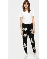 Chinti & Parker - Black Hibiscus Knot Stitch Cashmere Track Trousers - Lyst