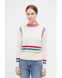 Chinti & Parker - Cream Sporty Stripe Merino Wool Jumper - Lyst