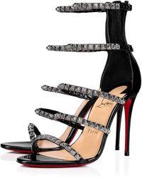 2fcc357f49a3 Lyst - Christian Louboutin Vampanodo Satin Bow Red Sole Sandal in Black