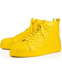 Christian Louboutin - Louis Calf Spikes Yellow Queen Cuir de veau - Lyst