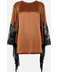 Christopher Kane - Toffee Lace-trimmed Satin Top - Lyst