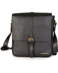 e3e698dbd578 Burberry Buckle Detail Leather Crossbody Bag Black in Black - Lyst