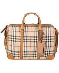 Burberry - Newburg Check Briefcase Tan - Lyst