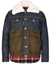 DSquared² - Dsquared Mixed Fabric Bomber - Lyst