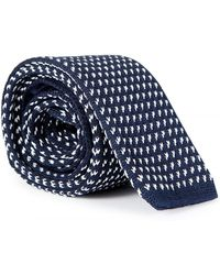 BOSS - Knitted 5cm Square Tie Navy - Lyst