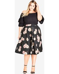 City Chic - Rose Print A-line Skirt - Lyst