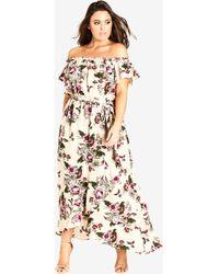 City Chic - Lolita Floral Off Shoulder Maxi Dress - Lyst