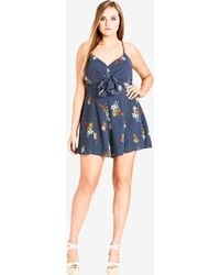 City Chic - Strappy Floral Playsuit - Black - Lyst
