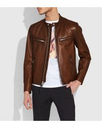 COACH - Leather Racer Jacket - Lyst