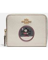 COACH - Boxed Minnie Mouse Small Zip Around Wallet With Patches - Lyst