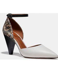 daa391af9cd0 COACH - Wynne Ankle Strap D%27orsay With Snakeskin Detail - Lyst